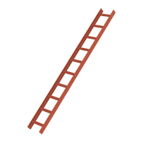 Roof ladder, red 10 rungs