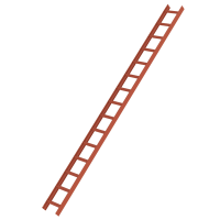 Roof ladder, red 15 rungs
