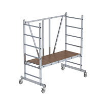 ML folding scaffolding for narrow passages without telescopic outrigger