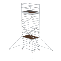 Folding scaffolding 1.35 x 1.80 m with outrigger Platform height 4.80 m