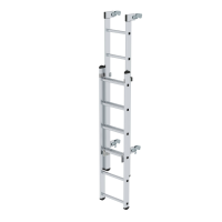 Access ladder with automatically closing quick-release fasteners