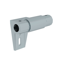 Rail system for shelf ladders intermediate bracket with bore holes