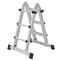 Telescopic ladder 4-section with stabiliser 4x3 rungs