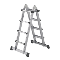 Telescopic ladder 4-section with stabiliser 4x4 rungs