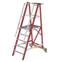 Platform ladder made of glass-fibre reinforced plastic / aluminium, folding and mobile, with glass-fibre reinforced plastic handrail 5 steps