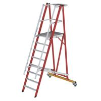 Platform ladder made of glass-fibre reinforced plastic / aluminium, folding and mobile, with glass-fibre reinforced plastic handrail 8 steps