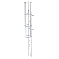 Single-flight vertical ladder with back protection (construction) bright aluminium 6.80 m