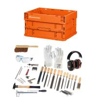 Trainee mechanical fitter's tool kit, 43 pieces for industrial mechanics with folding box