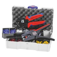 Crimping set, terminal sleeves with crimping tool and wire strippers