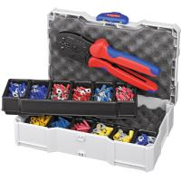 Crimping set, cable lugs, plugs and connectors including crimping tool