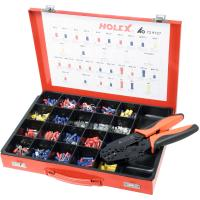 Crimping set cable lugs, plugs and connectors including crimping tool