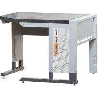 Corner workstation with base frame with dark grey Eluplan worktop