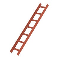 Roof ladder, red 7 rungs