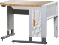 Corner workstation with base frame with bamboo worktop