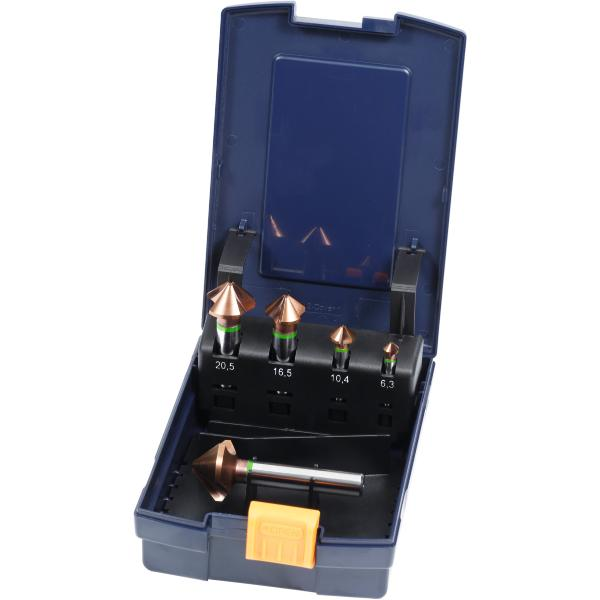 High-precision countersink set with 3 drive flats No. 150132 in a case 90° 5