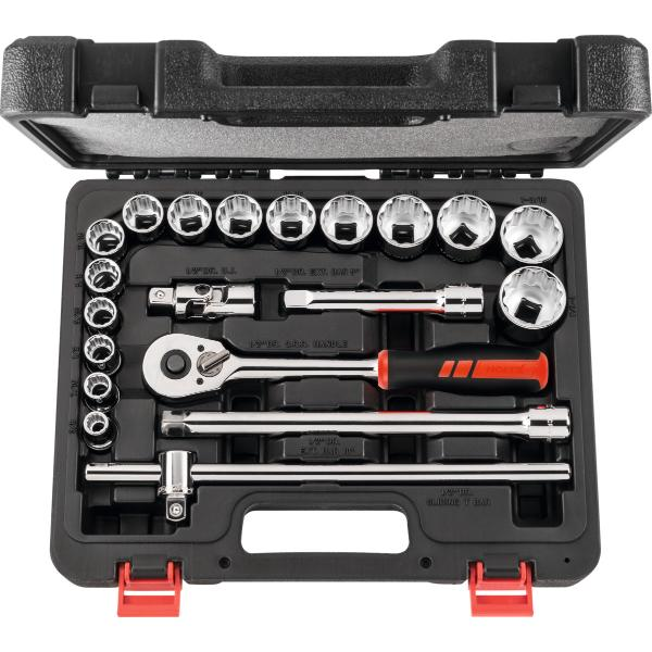Socket set, 1/2 inch square drive, imperial 20 pieces 20
