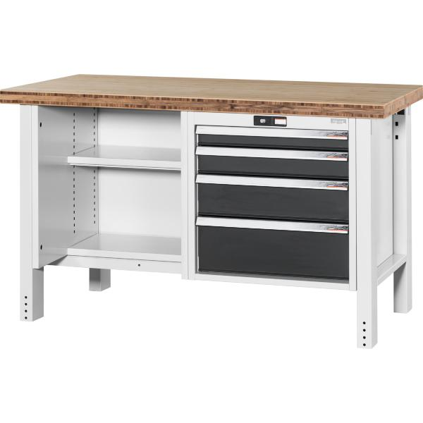 Workbench, left side open, right side 4 drawers, Bamboo worktop 1500 mm