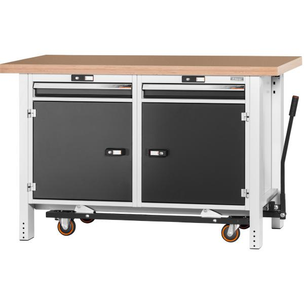 Workbench with undercarriage, height 950mm with beech marine ply worktop 1500 mm