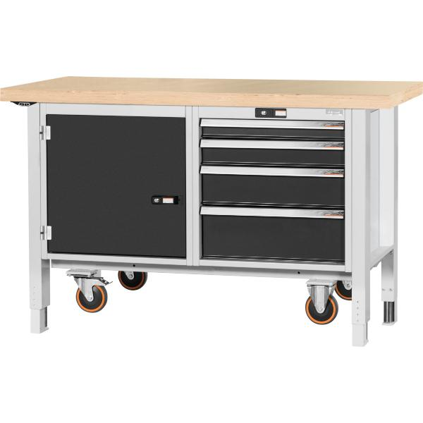Workbench, mobile, with electric height adjustment, cable, left side cupboard, right side 4 drawers, Beech marine ply worktop 1500/DE mm