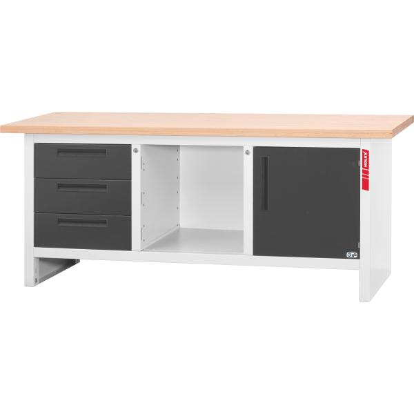 Workbench with 3 drawers and 1 swing door  2000 mm
