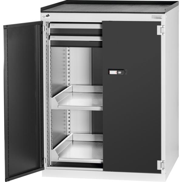 Swing-door auxiliary cabinet with anti-roll lip, with drawers and pull-out shelves 1025 mm