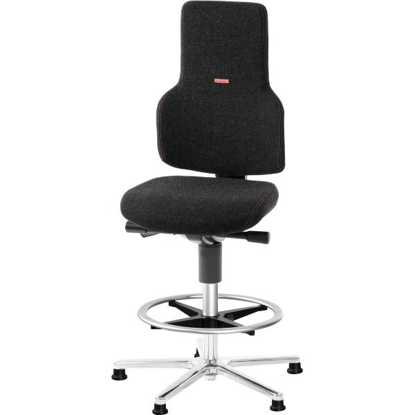 Swivel work chair ESD, fabric padding, with glides and footrest ring, high ESD