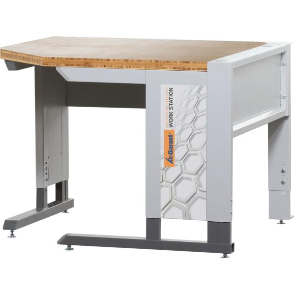Corner workstation with base frame with bamboo worktop 1000 mm