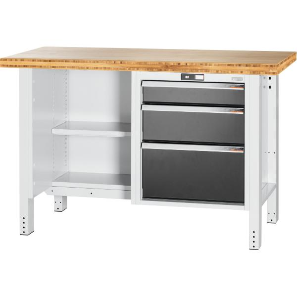 Workbench, left side open, right side 3 drawers, Bamboo worktop 1500 mm