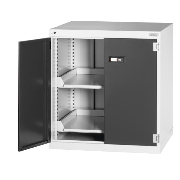 Swing-door auxiliary cabinet without anti-roll lip, with pull-out shelf 800 mm