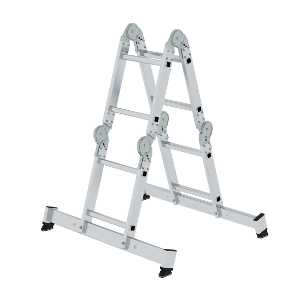 Multi-function ladder 4-section with nivello® stabiliser 4x2 rungs