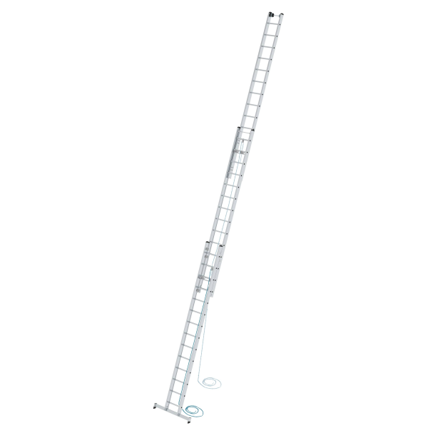 3-section rung rope-extension ladder with nivello® stabiliser 3x14 rungs