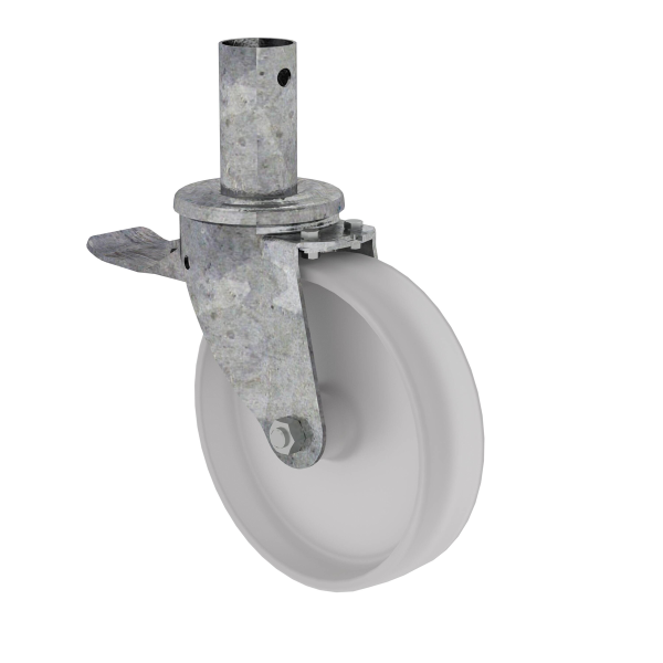 Swivel castor ø 200 mm with parking brake and pin