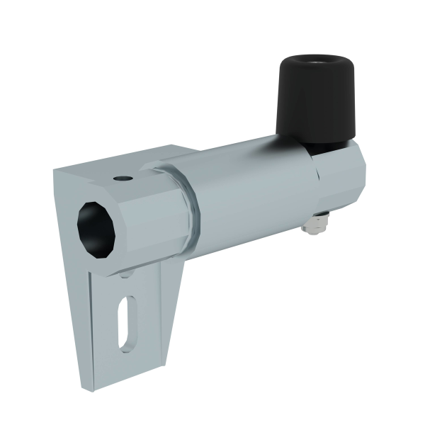 Rail system for shelf ladder bracket with end stop on right