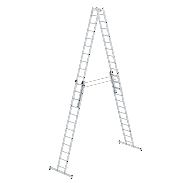 Double-sided rung ladder, 4-section with nivello® stabiliser 4x12 rungs