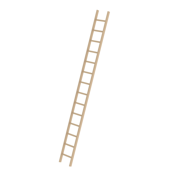 Rung straight ladder, wood without stabiliser 14 rungs