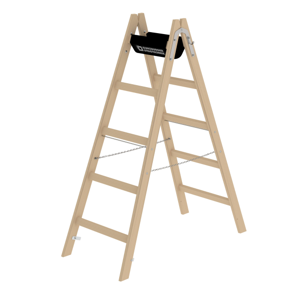 Double-sided rung ladder, wood 2x5 rungs