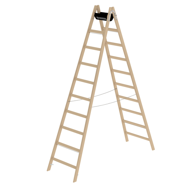 Double-sided rung ladder, wood 2x10 rungs