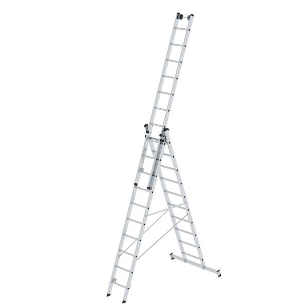 Multi-purpose ladder 3-section with nivello® stabiliser and wall wheels 3x10 rungs