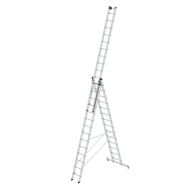 Multi-purpose ladder 3-section with nivello® stabiliser and wall wheels 3x14 rungs