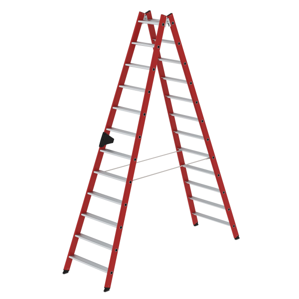 Double-sided step ladder with double-sided access made of reinforced fibre glass / aluminium 2x12 steps