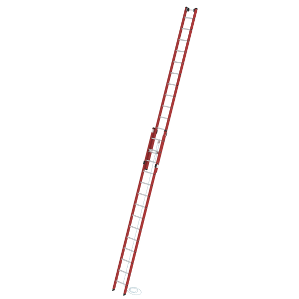 2-section rung rope-extension ladder made of reinforced fibre glass / aluminium without stabiliser 2x14 rungs