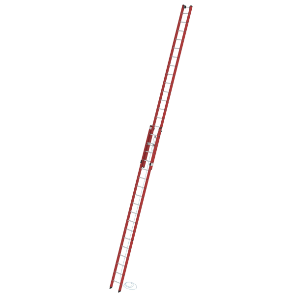 2-section rung rope-extension ladder made of reinforced fibre glass / aluminium without stabiliser 2x18 rungs