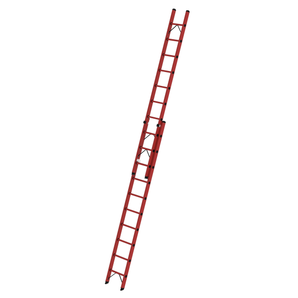 2-section rung push-up extension ladder made of reinforced fibre glass without stabiliser 2x10 rungs