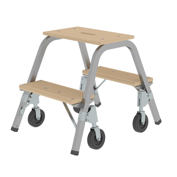 Steel and wood step stool with fixed castors 2x2 steps