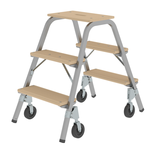 Steel and wood step stool with fixed castors 2x3 steps