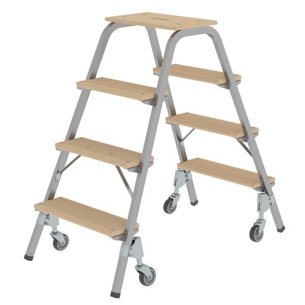 Steel and wood step stool with swivel castors 2x4 steps