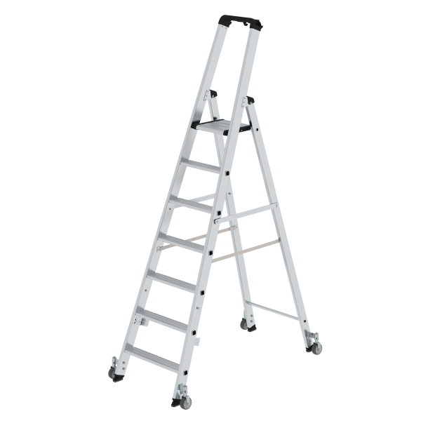Double-sided step ladder with single-sided access with castors 7 steps