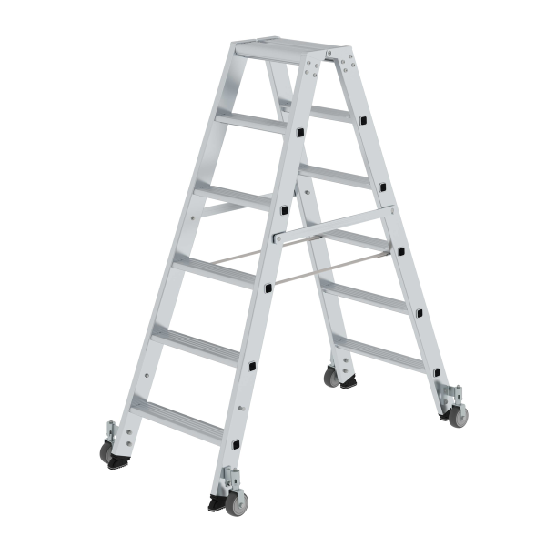 Double-sided step ladder with double-sided access with castors 2x6 steps
