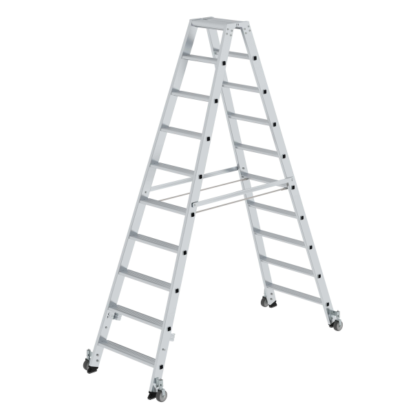 Double-sided step ladder with double-sided access with castors 2x10 steps