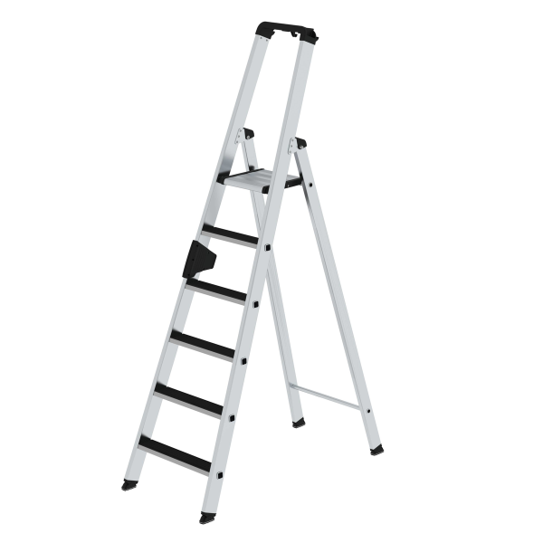 Double-sided step ladder with single-sided access with clip-step 6 steps